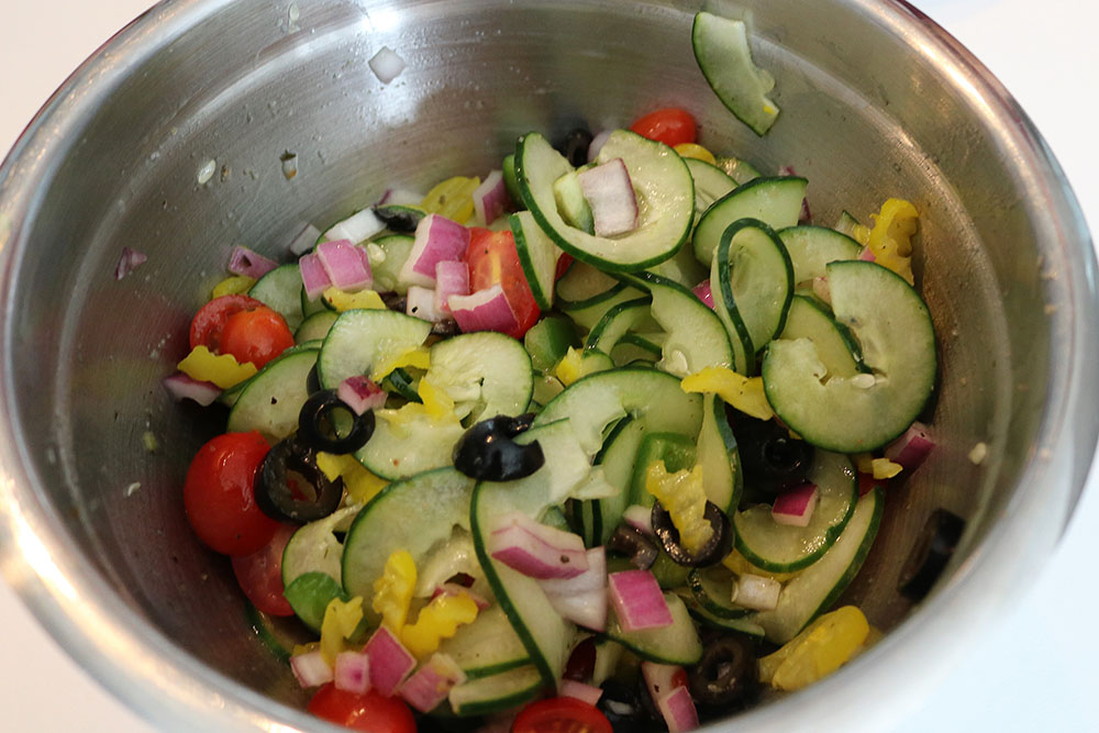 Cucumber Noodle Greek Salad Recipie
