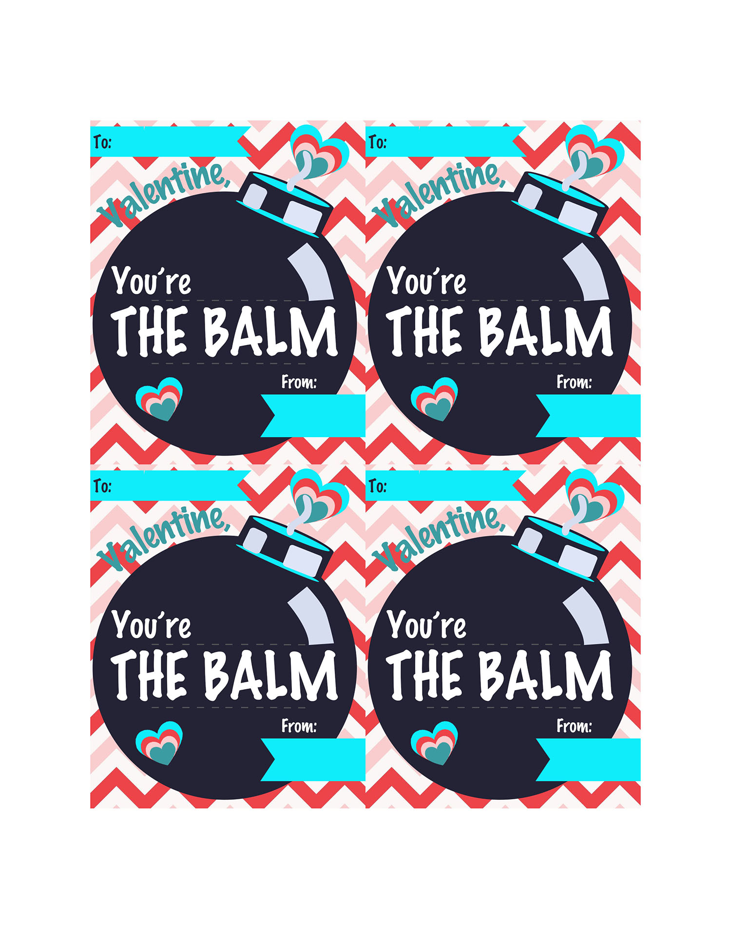 photograph about You're the Balm Free Printable named Youre The Balm Do-it-yourself Valentine Reward with Cost-free Printable