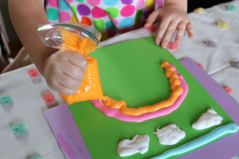 diy puffy paint for kids with shaving cream